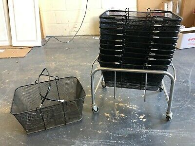 10 Black Metal Wire Shopping Baskets and Stand Retail Shop Supermarket