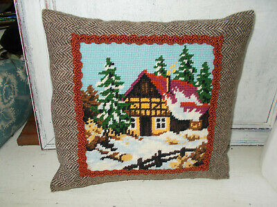 Vintage needlepoint tapestry cushion Christmas theme hand made new without tags