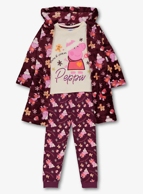 Peppa Pig Girls Purple Pyjamas and Dressing Gown 3 Piece Set 1 to 4 Years BNWT