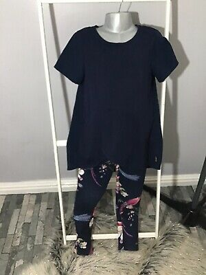 Ted Baker Outfit Blue Top-Floral Leggings- Occasion/ Party Outfit-Girls-Age 7-8