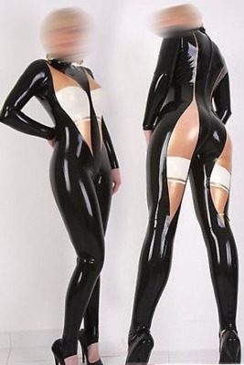 Handmade Cosplay Latex Rubber Catsuit Schwarz Fashion Bodysuit Wetlook Auzug