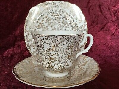 Vintage Mismatched Bone China Trio Tea Cup Saucer Plate Gold & White Pattern