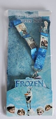 New Disney FROZEN 4-Pin Starter Set With Lanyard - Anna Elsa Olaf Kristoff Sven