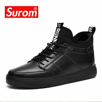 SUROM Warm Short Plush Men's Winter Shoes Thick Bottom Waterproof Ankle Boots