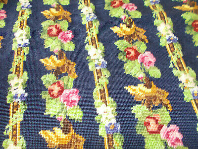 Vintage needlepoint tapestry cushion cover Victorian rose trellis completed
