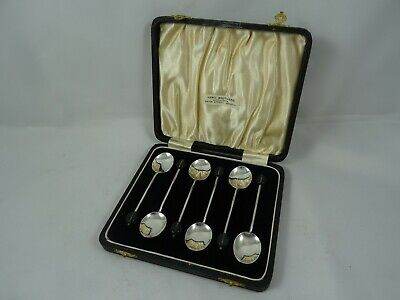 BOXED set x 6 solid silver COFFEE BEAN SPOONS, 1936