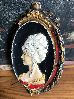 Vtg Antique Waverly Cast Iron door knocker Victorian Woman Bust