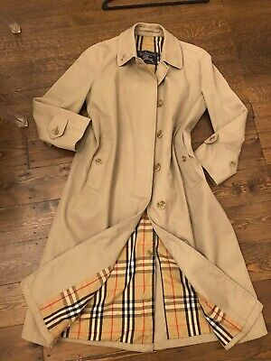 Stunning Ladies Genuine Burberry Button Coat Size 10 Uk Excellent Condition