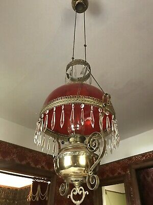 Super Victorian Large Hanging Oil Lamp With Amazing Cranberry Shade Prisms