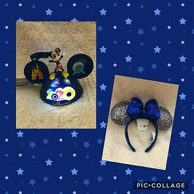 NEW - Disney 2020 Ear Hat Ornament and Minnie Mouse Blue Sequin Ear Headband