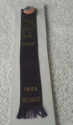 1893 REPUBLICAN LEAGUE OF PENN. READING 1893 DELEGATE ribbon Berks County,  PA