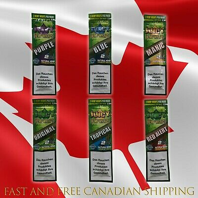 Juicy Jay's Hemp Double Blunt Wraps Mixed Flavors (6 Packs X2 each=12 Blunts)