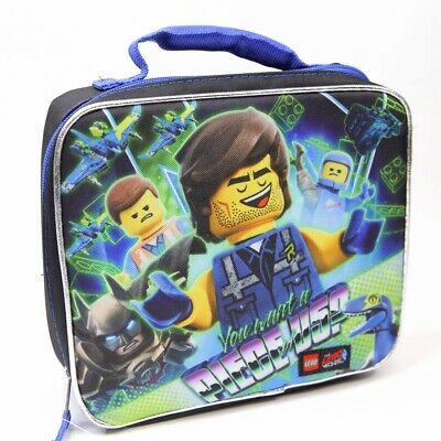 Kids Lego Movie 2 Batman Zippered Insulated Lunch Bag Box Tote School Black NEW