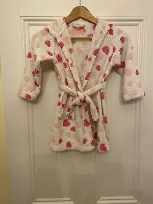 Girls Pink & White Heart Print Dressing Gown Age 4-5 Years