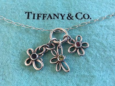Tiffany & Co Sterling Silver Dragonfly Butterfly Flower Gemstone Oval Necklace