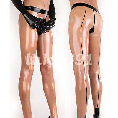 Pure Natural Latex 100% Rubber Damen Transparent Schwarz Pants Sexy Hose S-XXL