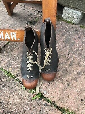 Antique Early 20th Century Leather studded boots