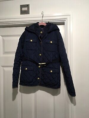 Girls Marks And Spencer Winter Coat With Hood Navy Age 9-10
