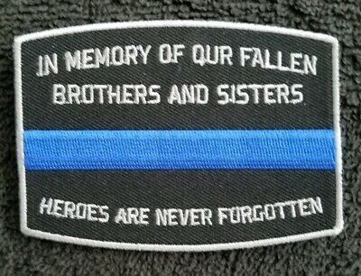 Thin BLUE  Line in Memory of the Fallen POLICE FIREFIGHTER Collectible PATCH