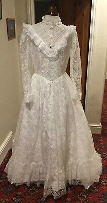 VINTAGE 1970's/80's VICTORIAN/EDWARDIAN STYLE WHITE LACE WEDDING DRESS