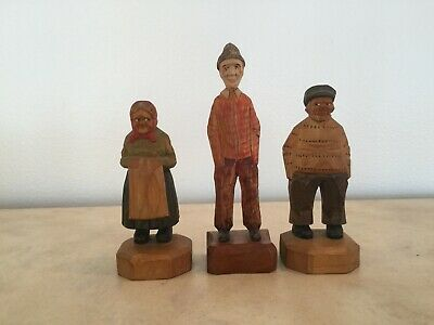 Rosaire Audet Quebec Folk Art Carved Figures: Sea Captain, Old Lady & Tall Man