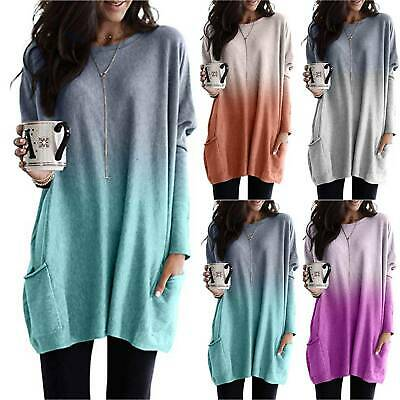 Womens Long Sleeve Gradient Baggy Tunic Tops Ladies Loose Jumper Pullover Blouse