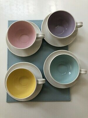 4 Portmeirion Sophie Conran Tea Cups And Saucers Colouurful Pastel Hues NEW