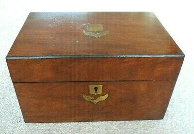Antique Victorian mahogany veneered work box with internal lift our tray.