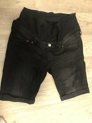 Maternity Black Long Shorts Size 10 H&M Underbump