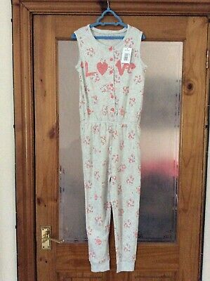 BNWT Matalan Grey & Pink Floral All In One Pjs Pyjamas Age 6-7 Years