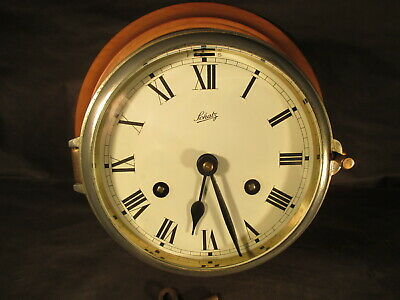 Vintage German Schatz Royal Mariner Ship Brass Wall 8 day Bell Clock