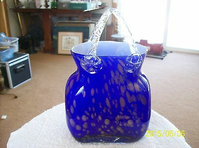 Glass Murano Style Cobalt & Gold Speckled Hand Blown Purse