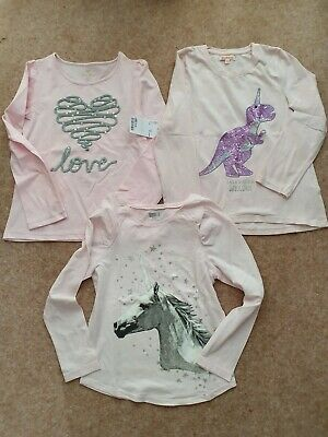 Three Long Sleeve Pink Tops, One Bnwt, Two Excellent  Condition Age 7-8 Years