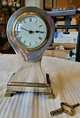 1899 STERLING SILVER SHELF CLOCK Partial ENGLISH HALLMARKS REMAIN. KEEPS TIME