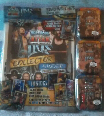 WWE Topps Slam Attax Live Starter Pack And Set of 3 Mini Tins New Sealed