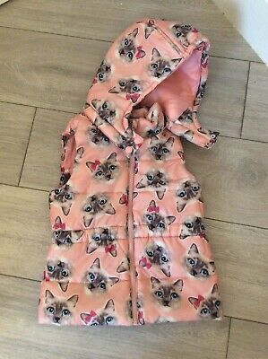 H&M Girls Pink Cats Gillet With Hood 5-6yrs **Excellent Condition!**