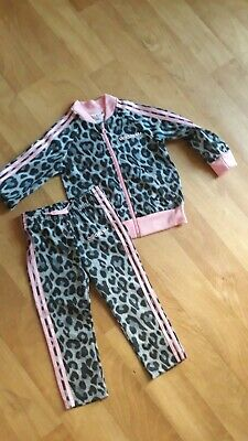 Adidas Girls Full Leopard Pink Tracksuit Age 18M-24M(2 Years)