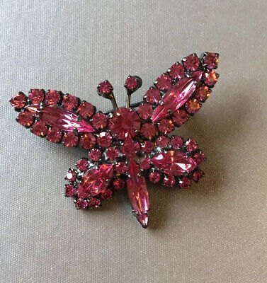 Marks & Spencer M&S signed Pink Crystal Diamante Butterfly Brooch - Gorgeous