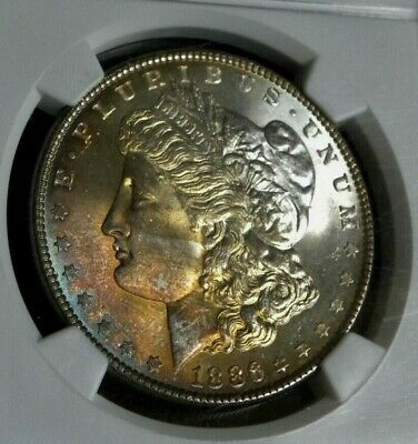 1886 Morgan Silver Dollar ~ Ngc Ms 64 ~ Wow!!! Awesome Toning Front.