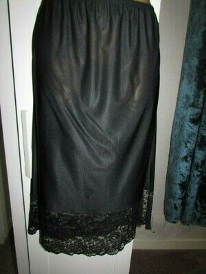 Beautiful Black Nylon Half Slip Petticoat 6 Inch Lace Hem Sz 12-14 Private