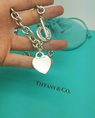 Tiffany & Co Heart Tag Toggle Sterling Silver Choker Necklace Full UK Hallmark