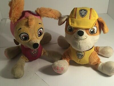 "💜 LOT OF 2 Paw Patrol 8"" Skye & Rubble Pup Pals beanbag Plush pink dog Nick Jr"