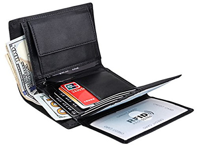 Wallet for Men With Coin Pocket RFID Leather Card Holder Big Trifold 3 ID Plain