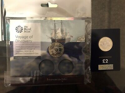 Set Of 2018 and 2019 Captain Cook £2 .The 2019 one In Royal Mint Pack .