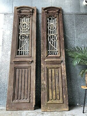 Antique Vintage French Farmhouse Entrance / Barn Doors With Wrought Iron Inserts