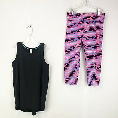 Ivivva by Lululemon Girls Size 12 Outfit Set Tank Top Shirt Crop Capri Leggings