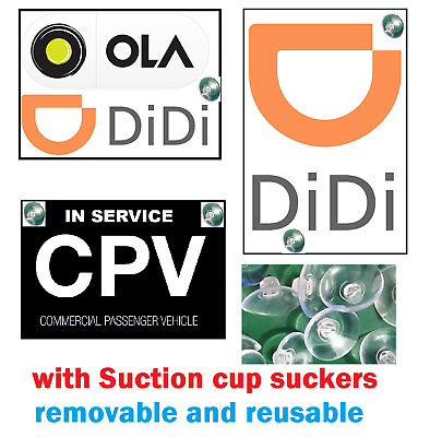 Premium Ola Didi rideshare CPV CAR sticker Suction cup removable static cling
