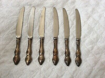 Vintage Silver-plated 6 knives set, German silver, Melchior