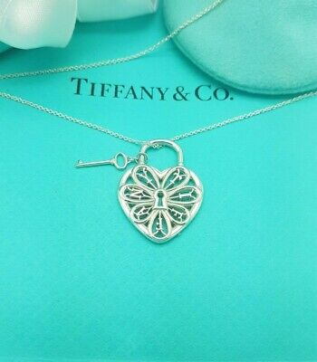 Tiffany & Co Large Filigree Heart Key Charm Pendant 18 Inches Necklace in Silver