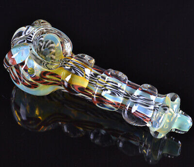 "5"" Magnifier Hand Pipe Glass Pipes Bowl Glass Pipe 24KT Fumed Bong Bubbler *USA*"